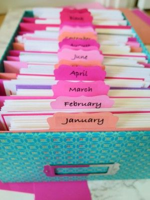 Make your own adorable greeting card organizer with your portable Epson label maker with iphone app! Sort your cards by month for easy access!