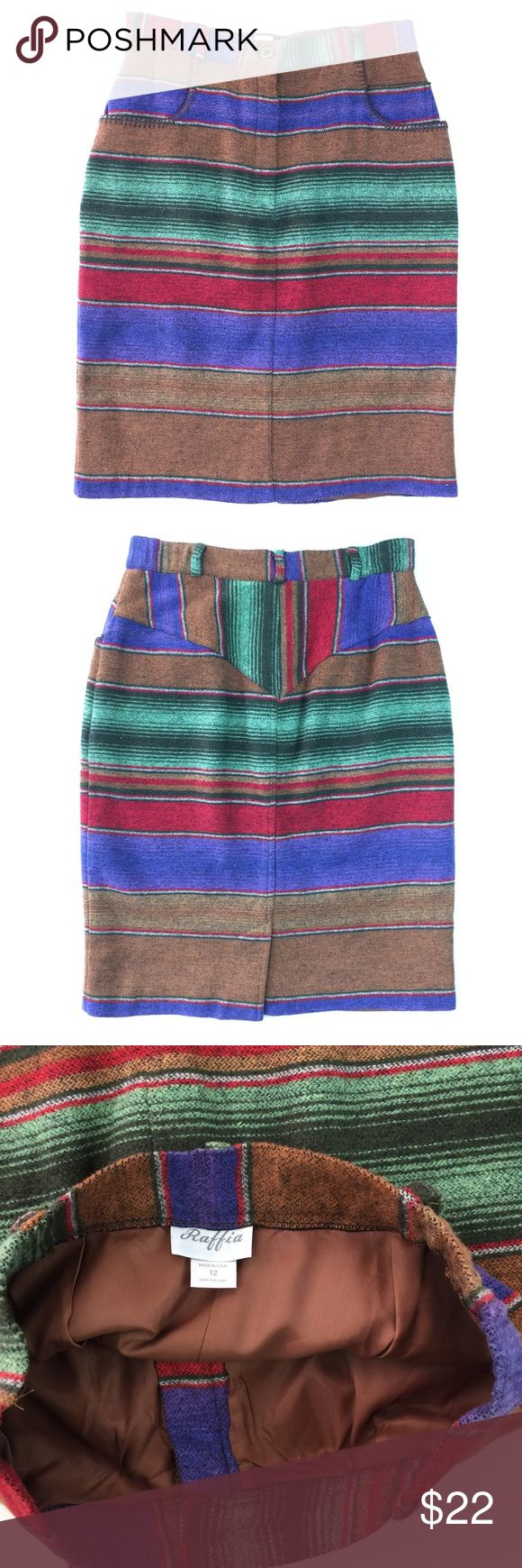 """Vintage 90's Striped Southwestern Blanket Skirt Awesome vintage southwestern skirt. Multicolor stripe soft woven blanket fabric with whip stitch edging on pockets. Very good vintage condition. Made in the USA. 50% cotton, 40% acrylic, 5% rayon, 5% other. Size 12. High waisted. 26"""" long. 15 1/2"""" waist flat. Vintage Skirts Pencil"""