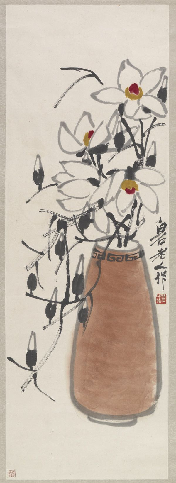 Color art printing anchorage - Qi Baishi 1864 1957 Magnolia Ink And Color On Paper Hanging Scroll