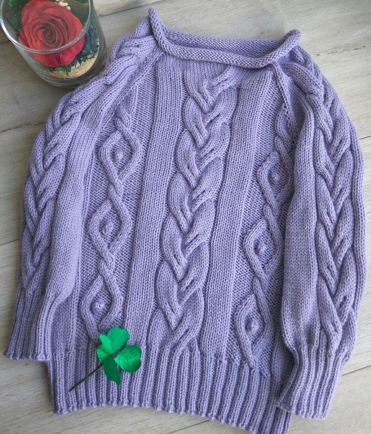 Пуловер свитер с косами аранами из 100% мериноса на девочку 1,5-2 года pullover sweater for baby girl 1.5 years of 100% Merino