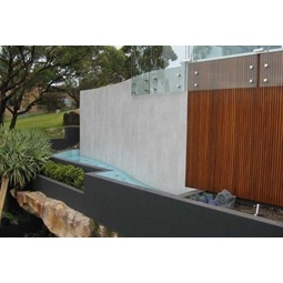 Kerlite porcelain - 3mm thick - used as facade of infinity swimming pool.