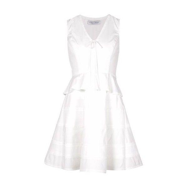 PROENZA SCHOULER V-Neck Peplum Dress (£535) ❤ liked on Polyvore featuring dresses, white, white peplum dress, sleeveless dress, white day dress, white v neck dress and sleeveless v neck dress