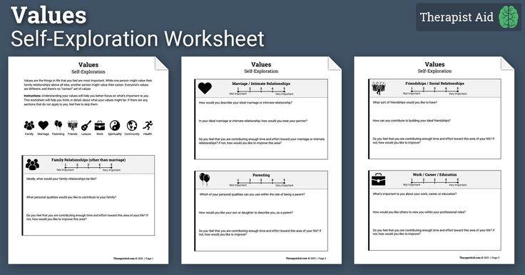 Values Self Exploration Worksheet Act Therapy Group