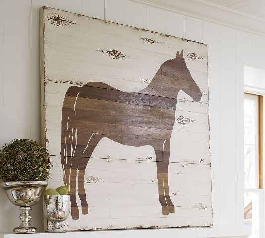 Diy Pottery Barn Knockoff Art  - made from  wood plank paneling, contact paper & stain - full Tutorial & staining tips.