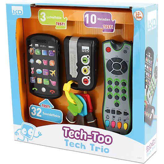 Jedes Kind möchte mit diesen 3 Gegenständen der Eltern spielen: Das Smartphone, die Schlüssel und die Fernbedienung. <br /> <br /> Nun extra für Kinder in einem tollen 3-er Set mit authentischem Aussehen:<br /> Das Smartphone verfügt über 16 Symbole, die bei Berührung Geräusche machen, Lichtblitze abgeben und vieles mehr. Wenn das Smartphone für ein paar Minuten liegen gelassen wird, ruft es das Kind an. <br /> Die Schlüssel verfügen über realistisc...