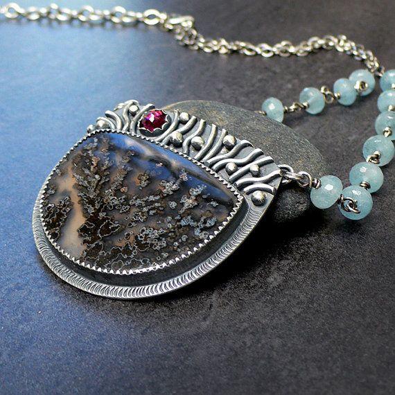 McComseyDesigns | Brazilian Black Plume Agate, Rhodolite Garnet and Aquamarine Sterling Silver Necklace