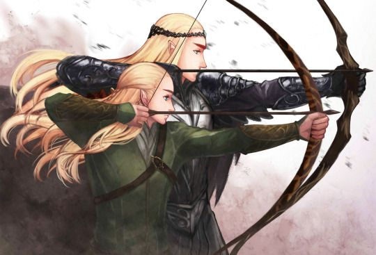 Like father like son <<Well actually Thranduil preferred the sword but that's still cool lol