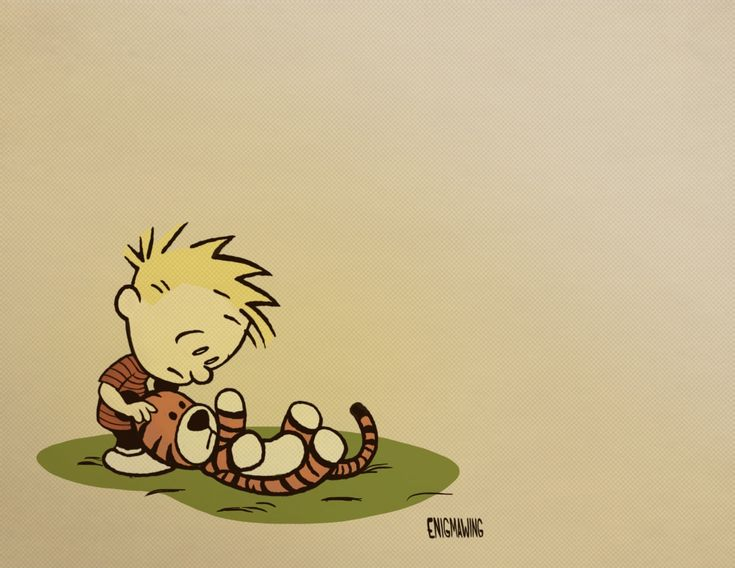 """Calvin and Hobbes"" fan art.  Calvin has just made the most painful realization of his young life.  This makes me so sad as I think about my own boys growing up.  Love you Calvin."