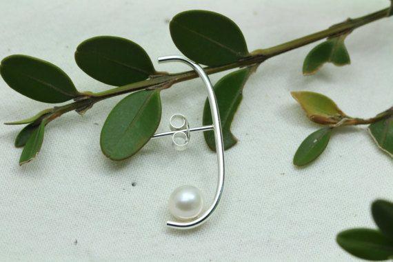 Pearl Suspender Earring Fresh Water Pearl Earring by Hesys on Etsy