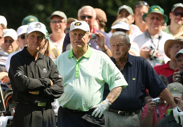 Arnold Palmer, Jack Nicklaus and Gary Player wait on a tee during the Par 3 Contest prior to the start of the 2008 Masters Tournament at Augusta National Golf Club on April 9, 2008 in Augusta, Georgia.