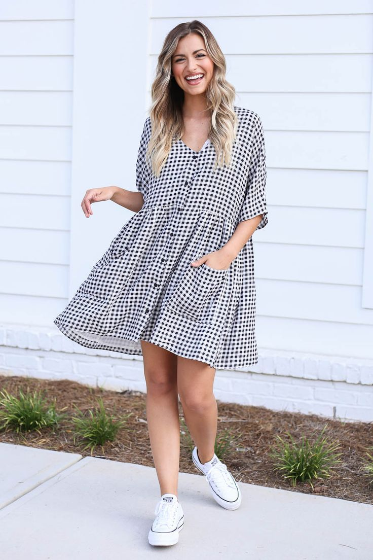 Style Our New Gingham Babydoll Dress With Your Favorite White Tennis Shoes For An Easy And Casual Look B Dress Boutiques Online Babydoll Dress Outfit Outfits [ 1104 x 736 Pixel ]