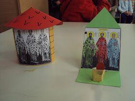 Κατασκευές για τους τρεις Ιεράρχες     Κόβουμε χαρτονάκια κανσόν, ό,τι χρώμα θέλουμε, σύμφωνα με το πατρόν και κολλάμε την εικονίτσα απ' τ...