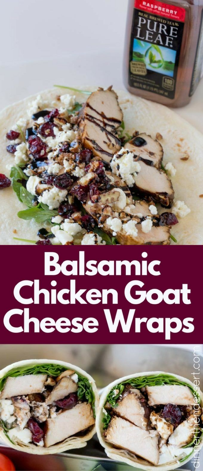 Balsamic Chicken Goat Cheese Wraps made with balsamic roasted chicken breasts, arugula, pecans, cranberries and goat cheese and topped with a wonderful balsamic glaze. #PureLeafLunchBox #RealBrewedTea #AD @pureleaf