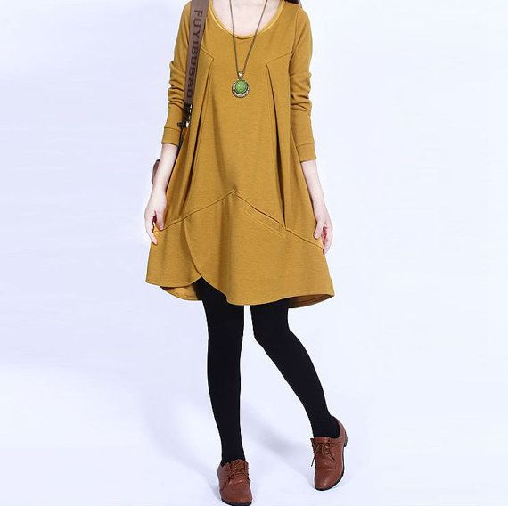 Cotton dress Long sleeve dress casual loose by PerfectChlothing, $58.90