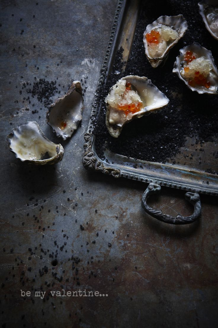 VALENTINE'S DAY! Oysters with lemon and black pepper granita Copyright © 2013, www.thefooddept.blogspot.com