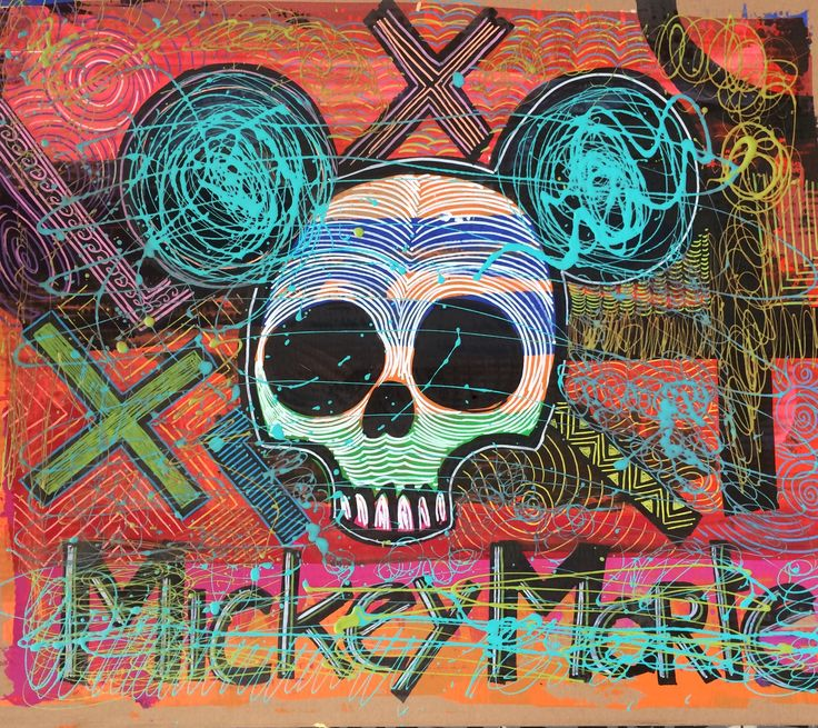 Artwork made on cardboard. Mixed media. Cartoon, comic, colorful, graffiti, streetart, street, tags, clash of style. Mickey Mouse. Disney