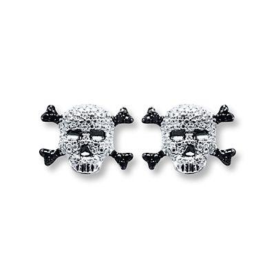 Artistry Diamonds Skull & Cross-bones 1/20 cttw Diamonds Sterling Silver Earrings ugGvXG392W