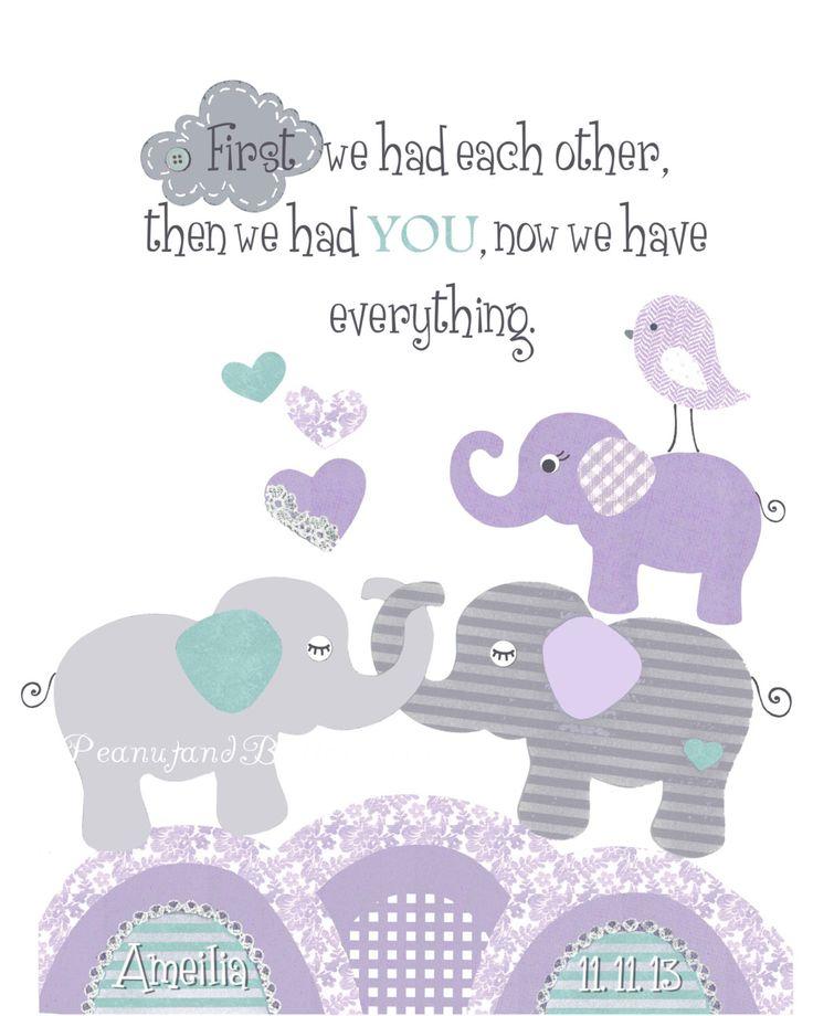 PURPLE TEAL NURSERY, baby elephant print, First we had each other, Brooklyn bedding decor, gray lavender nursery, personalized, elephant art by PeanutAndButtons on Etsy https://www.etsy.com/listing/184411918/purple-teal-nursery-baby-elephant-print