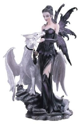 Black Fairy With White Dragon Collectible Figurine
