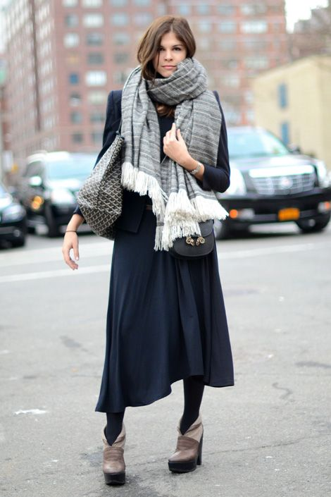 love the big scarf, the tights, the shoes . . .