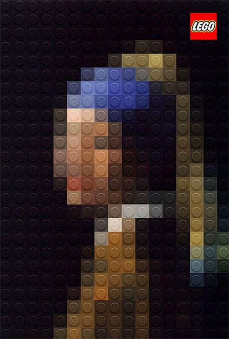 クラシック絵画を見事にピクセルドットデザインで再現した、レゴブロッックの広告デザイン。