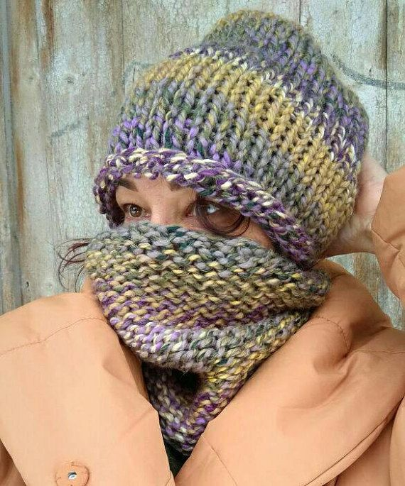 A wonderful knitted women set of hats and a snood scarf. Suitable for women and girls of any age. Look how many options for wearing this beautiful hat! So soft, so cozy, so trendy! Knitted by my hand from a high-quality yarns: chunky wool 20%, acril 80% - made in Finland. This chunky