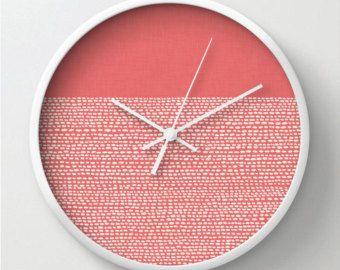 Cayenne Pantone color modern minimal wall clock, modern home decor, coral and white, dots, custom colors, minimalist design clock