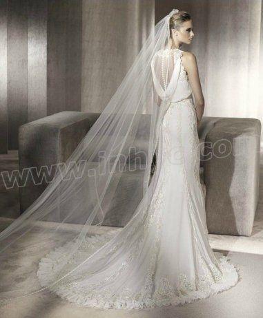 Chiffon Mermaid High Collar Neckine Draped Skirt Wedding Dress