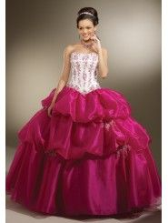 Satin Strapless Softly Curved Neckline Embroidered Bodice Quince Dress