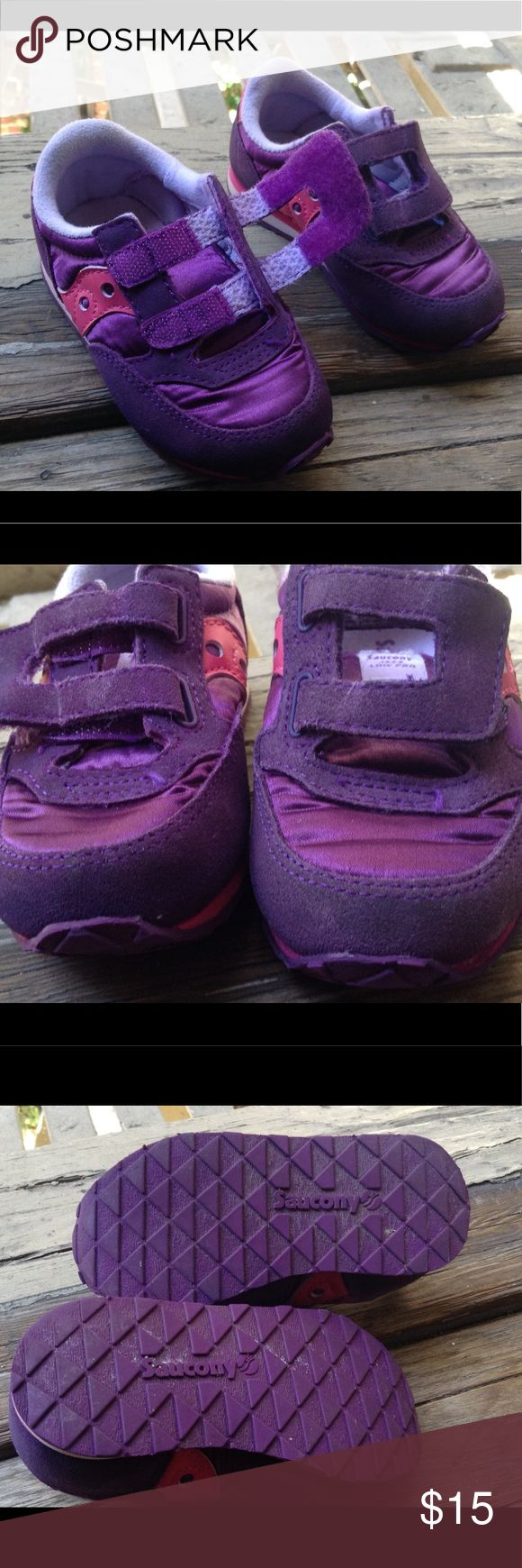 "Saucony Toddler Jazz Lo Pro Velcro Sneakers Purple Suede & Satin Inserts with Pink Trim. Velcro Close. Size 6 Measures: 6 1/2"" Long x 2 1/2"" Wide. Baby Jazz H & L Saucony Shoes Sneakers"