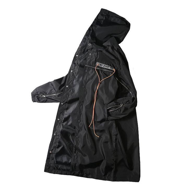 Tide 2017 Winter Decoration Hip Hop Long Zipper Windbreaker Loose Trench Mens Coat Sobretudo Masculino Gothic Overcoat Jacket
