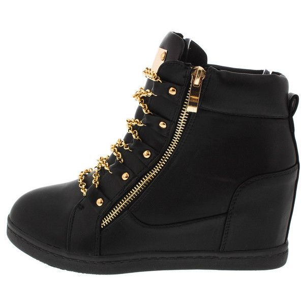 RILEY BLACK CHAIN SNEAKER WEDGE BOOT ($13) ❤ liked on Polyvore featuring shoes, chain boots, black shoes, wedge heel boots, black flats and flat pumps