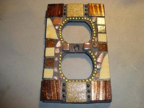 MOSAIC Electrical Outlet COVER Wall Plate Wall Art Bronze