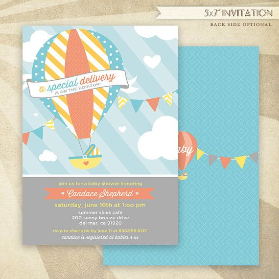 Custom Hot Air Balloon Baby Shower   PRINTABLE Invitation   HWTM On Etsy,  $16.50