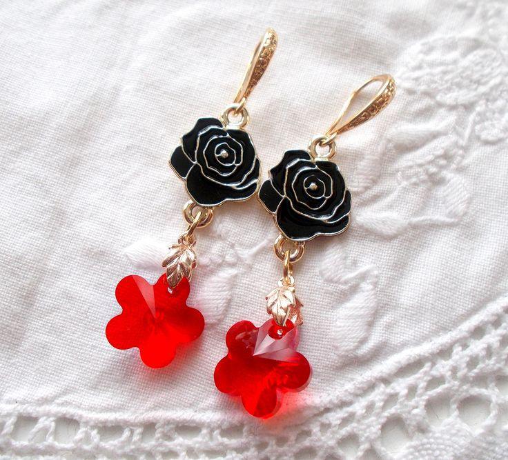 Swarovski Light Siam black enamelled flower rose drop earrings by RicePaperJewels on Etsy