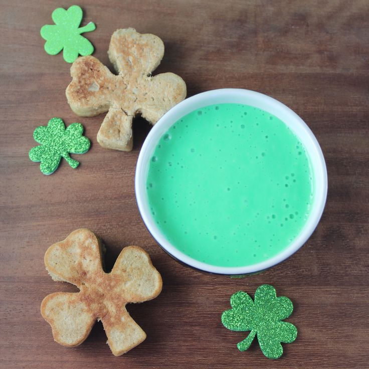 Shamrock Shaped Pancakes with Green Cream Cheese Syrup #LLBSuperbowl