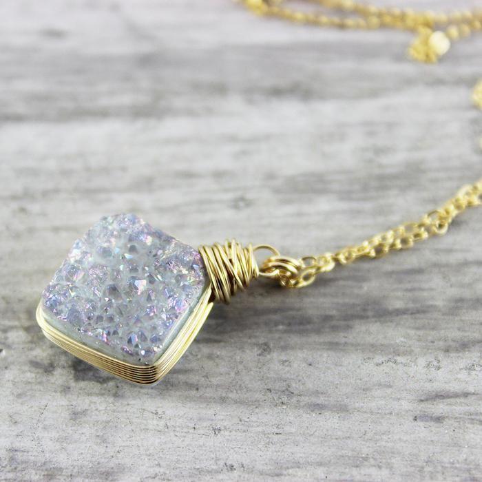Rainbow Druzy Gold Pendant Necklace - As Worn on Stitchers | Necklace | Jewelry | Druzy Jewelry | #druzy #druzyjewelry #jewelry #handmadejewelry | www.starlettadesigns.com