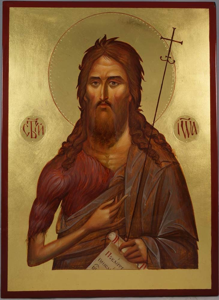 St John the Forerunner (John the Baptist) - This is a premium quality icon made with pure 23K gold leaf. Painted using traditional technique - egg tempera, lime wood panel with slats on the back, varnish, 23 karat gold leaf. About our icons Blessedmart offers hand-painted religious icons that follow the Russian, Greek, Byzantine and Roman Catholic