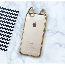 iPhone 6 6s Plus 5.5 - Cute Cat Ear 3D Electroplated Bumper TPU Soft Protective Phone Cover Case - Gold