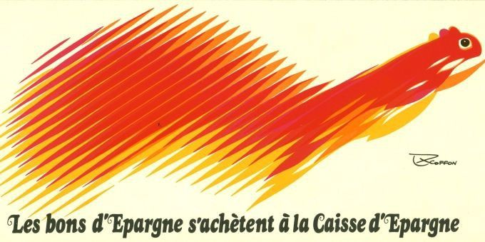 """Squirrel logo for the """"Groupe Caisse d'épargne"""" (a French semi-cooperative banking group) by French typeface designer and graphic designer ROGER EXCOFFON (*1910 – †1983) 