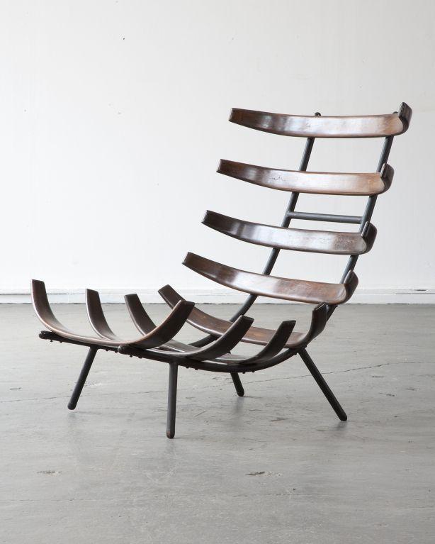 "Rare lounge chair by Carlo Hauner and Martin Eisler  Brazil  1955  Rare jacaranda lounge chair. Designed by Carlo Hauner and Martin Eisler for Forma, Brazil, circa 1955. (seat height: 8.5"")"