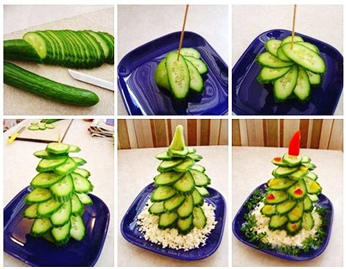 Christmas tree made from cucumber.