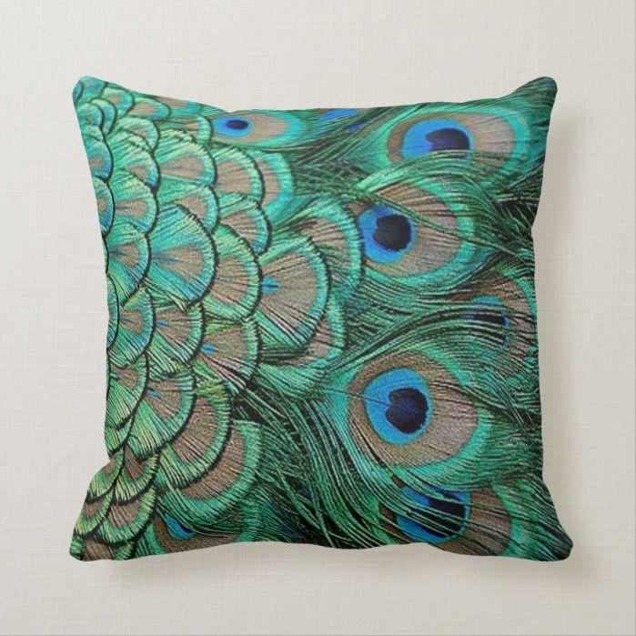 Peacock Feather Cases Pillow Cojin De 16 X 16 Home Garden