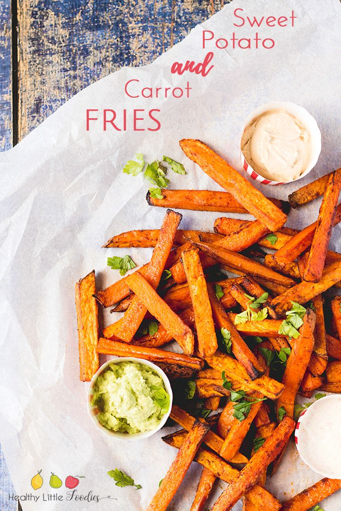 Carrot Sweet potato fries. Great for BLW (baby-led weaning) and a kid friendly food. Healthy alternative to regular fries.