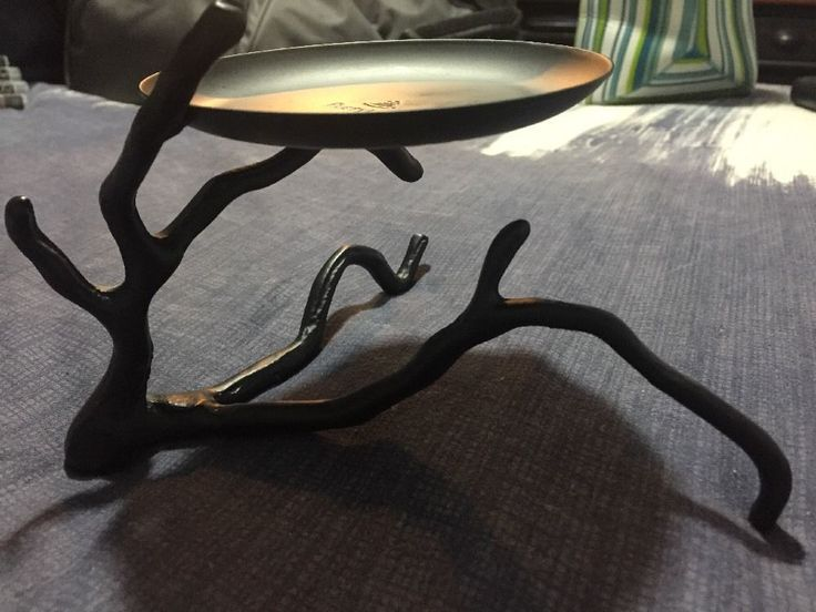 Details About Partylite Black Iron Metal Candle Holder Branch Twig Rustic Country Look