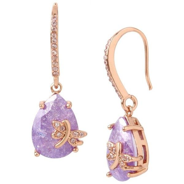 Betsey Johnson Fall Critters Dragon Fly CZ Drop Earring (62 BAM) ❤ liked on Polyvore featuring jewelry, earrings, lavender, betsey johnson jewelry, betsey johnson earrings, cubic zirconia jewelry, drop earrings and cz jewellery