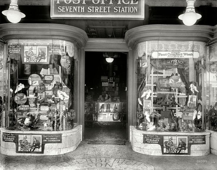 """June 1920. """"Berberich store window, Seventh Street."""" The venerable Washington, D.C., shoe emporium"""