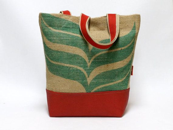 Recycled Burlap Coffee Sack Market Tote Bag by EllaOsix on Etsy