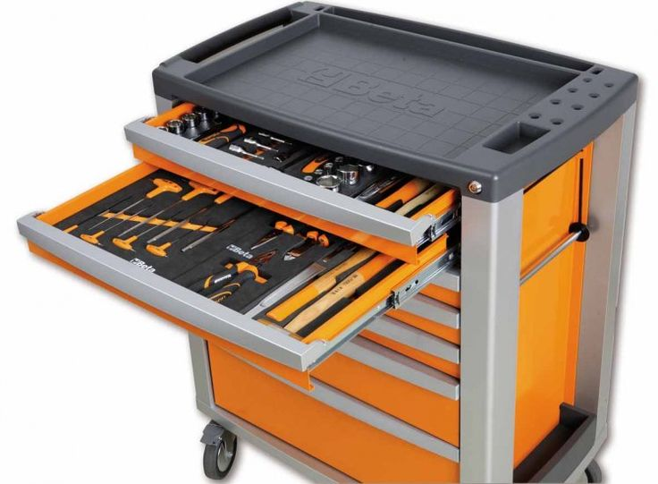 Cassettiera mobile BETA C39-7 con 7 cassetti arancione vuota