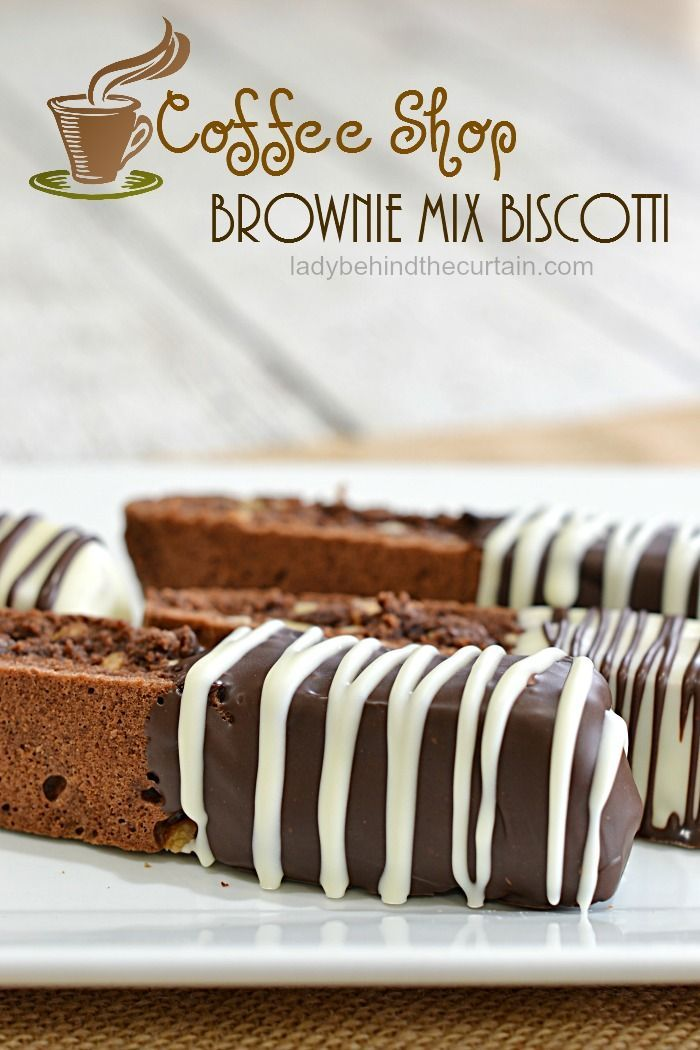 Coffee Shop Brownie Mix Biscotti | This semi homemade version of a classic biscotti is amazing!  It's like have the crispy edge with every piece.